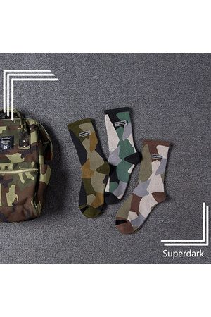 Newchic Men Breathable Camouflage Cotton Middle Tube Socks Casual Street Sports Socks