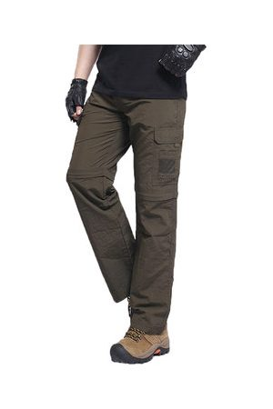Newchic Mens Outdoor Multi Pockets Cargo Pants Thin Solid Color Nylon Trouser