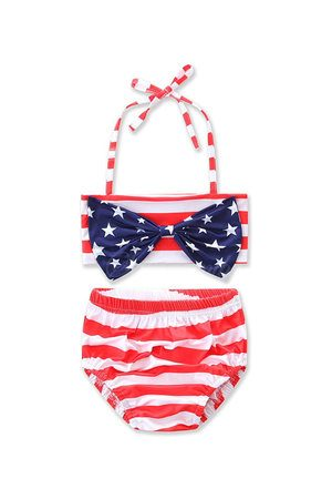 aaa0c02d16c Newchic Cute Girls American Flag Star Swimsuit
