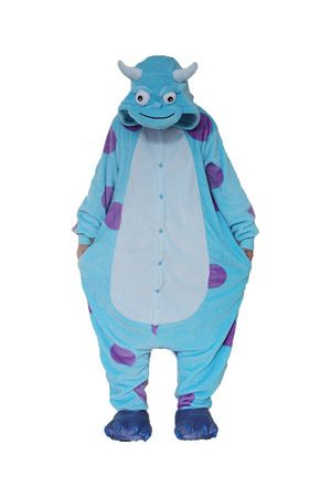 Newchic Pyjamas - Cute Blue Dinosaur Cartoon Cosplay Unisex Flannel Nightwear