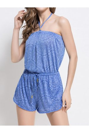Newchic Sexy Plus Size Drawstring Jumpsuit Cover-ups