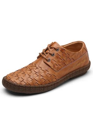 Newchic Men Genuine Leather Breathable Knitted Lace Up Casual Shoes