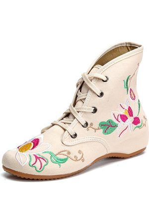 Newchic Floral Print Embroidery Lace Up Retro Wedge Heel Boots