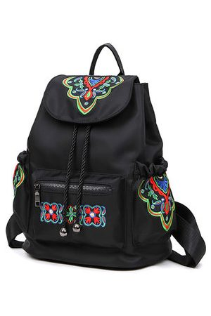 Newchic Nylon Flower Pattern National Style Large Capacity Travel Outdoor Backpack Shoulder Bag