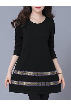 Newchic Women Casual Dresses - Casual Women Tribal Style Embroidery Striped Long Sleeve Mini Dress