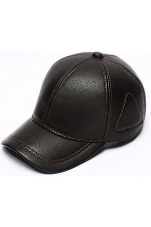 Newchic Men Hats - Men's PU Leather With Triangle Logo Baseball Cap Casual Sunscreen Warm Snapback Trucker Hat
