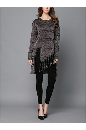 Newchic TangJie Casual Brief Loose Striped O-Neck Long Sleeve Slit Women Sweaters