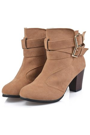 Newchic Solid Color Thermal Square Heel Keep Warm Ankle Boots For Women