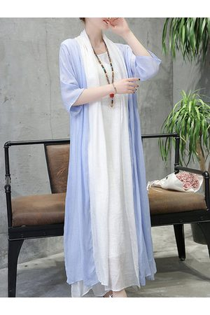 Newchic Casual Women Solid Stitching 3/4 Sleeve Thin Long Cardigan