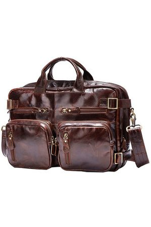 Newchic Hand-held Messenger Shoulder Multi-function Package Retro Oil Wax Cow Leather Portable Bag For Men