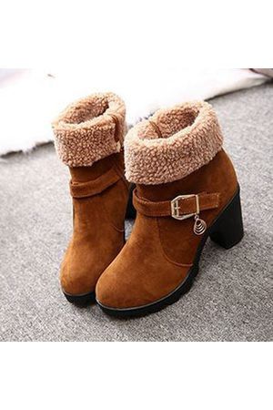Newchic Women Ankle Boots - New Trendy Sweet Lamb Wool Zipper Square Heel Ankle Winter Boots For Women