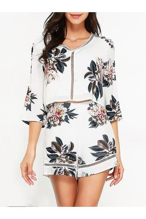 Newchic Women Sexy Hollowed Out Bohemian Printed Suits