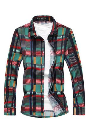 Newchic Plus Size Stylish Checked Plaids Printing Loose Designer Shirts for Men