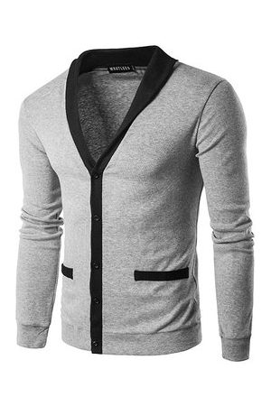 Newchic Mens Fall Winter Brief Style Sweatershirt Single-breasted Hit Color Knitting V-Neck Cardigan