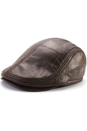Newchic Men Genuine Cowhide With Ear Flaps Beret Hats