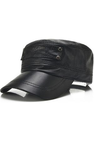 Newchic Men Sheepskin Genuine Leather Flat Top Hats With Breathable Sweatband Baseball Cap