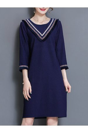 Newchic Casual Stripe Patchwork Loose 3/4 Sleeve O-neck Women Dresses
