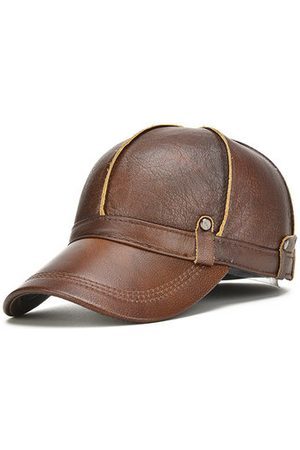 Newchic Men Genuine Leather Cowhide Baseball Cap With Ears Flaps