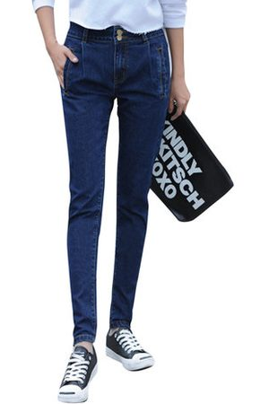 Newchic Casual Women Solid Middle Waist Pockets Denim Pants