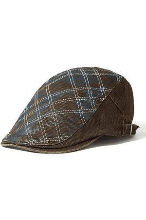 Newchic Men Plaid Cotton Beret Cap Casual Outdoor Warm Windproof Hat