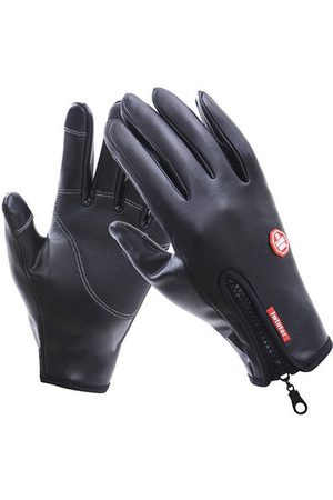 Newchic Mens Outdoor Full Finger Warm Leather Windproof Waterproof Touch Screen Bicycle Gloves