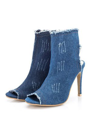 Newchic Fish mouth Denim Wearable High Thin Heels Casual Boots For Women