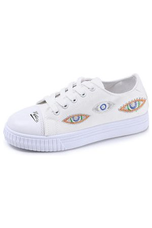 Newchic Embroider Round Toe Eyes Pattern Canvas Flat Casual Shoes For Women