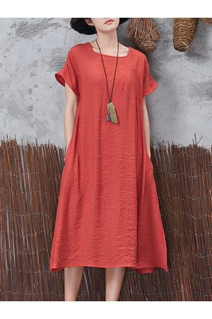 Newchic Women Casual Dresses - Vintage Side Split Baggy Dress