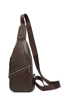 Newchic Genuine Leather Chest Bag Casual Business Single-shoulder Crossbody Bag For Men
