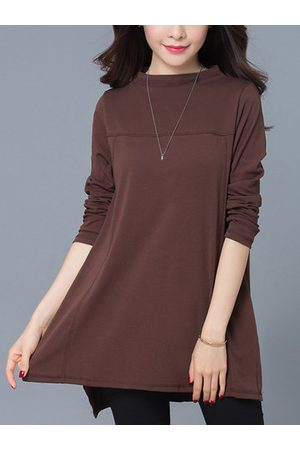 Newchic Elegant Women Side Split Solid Long Sleeve O-Neck Mini Dress