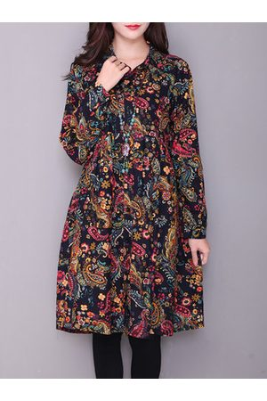 Newchic Bohemian Floral Print Pockets Long SLeeve Turn-Down Collar Dress