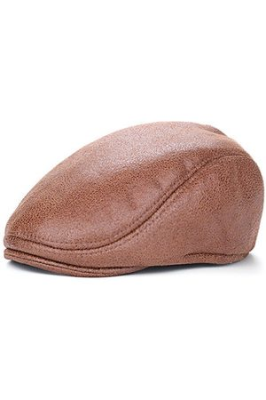 Newchic Men Caps - Men Vintage PU Leather Beret Cap Casual Outdoor Visor Duck Hats Winter Warm Peaked Caps