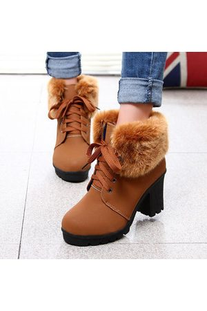 Newchic Block Fur Lining Ankle Chunky Heel Lace Up Boots