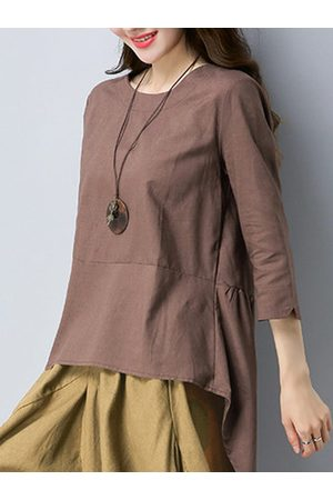 c71a164576e0ca Newchic Casual Solid Long Sleeve O-Neck Swallowtail Tops For Women