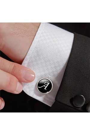 Newchic Men Gemstone Glass Single Letter Cufflinks Wedding Party Vintage Alphabet Cufflink