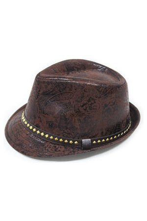 Newchic PU Leather Cowboy Cap Print Panama Jazz Cap Top Hat