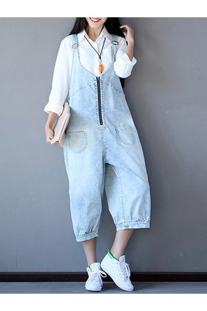 Newchic Women Jumpsuits - Women Blue Strap Zipper Pockets Jumpsuits Overalls