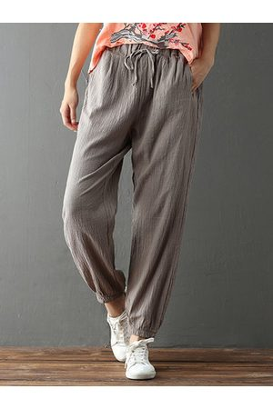 Newchic Women Capris - Casual Solid Color Drawstring Waist Pants For Women