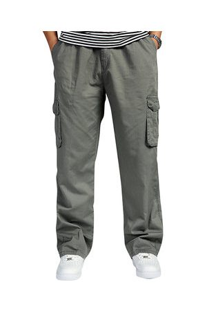 Newchic Mens Multi-pocket Cotton Cargo Pants Elastic Waist Loose Fit Solid Color Casual Trousers