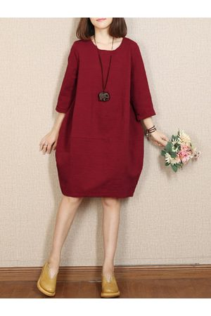 Newchic Casual Loose Solid Color O-Neck Half Sleeve Women Dresses