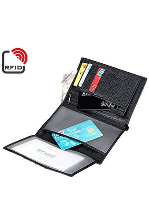 Newchic RFID Antimagetic Genuine Leather Trifold Wallet 15 Card Slots Casual Business Card Pack For Men