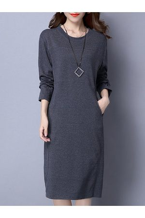 Newchic Casual Cotton Solid Color Dresses