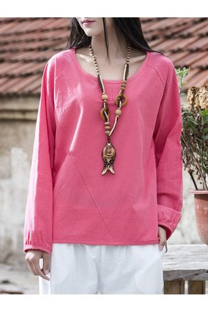 Newchic Mori Solid Lantern Long Sleeve Tops