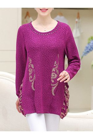Newchic Casual Printed Long Sleeves O Neck Shirt