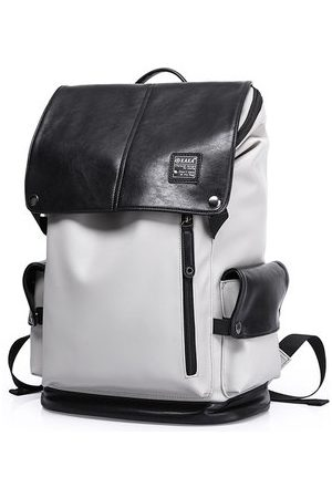 Newchic 20 Inch PU Leather Backpack Casual Book Bag For Men