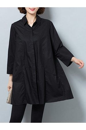 Newchic Pure Color Lapel Long Sleeves