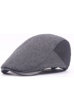 Newchic Men Hats - Mens Wool Felt Solid Beret Caps Casual PU Brim Warm Visor Gastby Hats Adjustable
