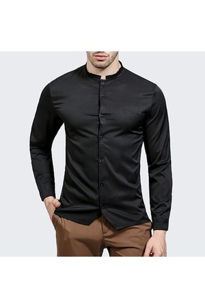 Newchic Men Casual - Stylish Casual Stand Collar Button Up Designer Shirts for Men