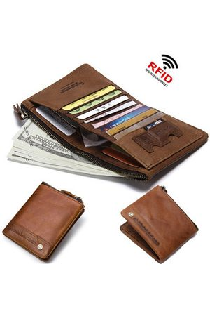 Newchic Men Wallets - RFID Antimagnetic Genuine Leather Short Wallet For Men