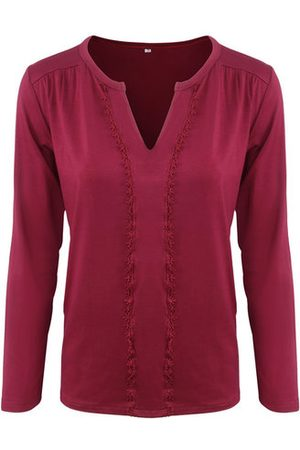 Newchic Vintage Splicing Pure Color V Neck Long Sleeves Shirt For Women